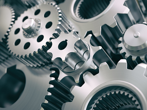 Gears And Cogwheels Engine Industrial Background Stock Photo - Download Image Now
