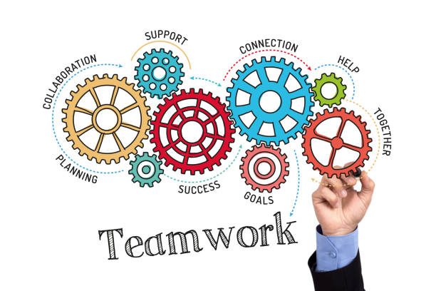 Gears and Teamwork Mechanism on Whiteboard stock photo