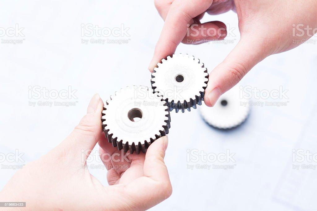 gears and teamwork stock photo