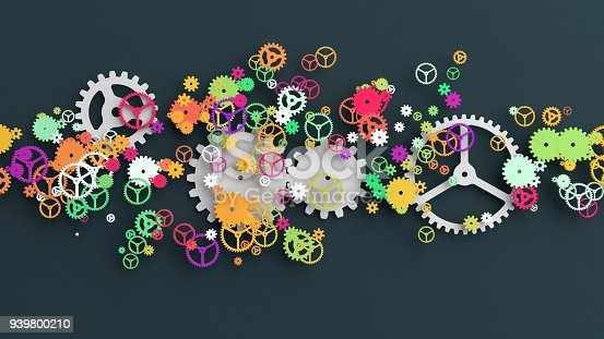 Background of multi colored gears cut-out from paper, 3D