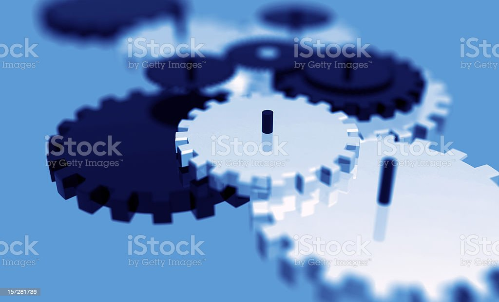 Gears - blue background royalty-free stock photo