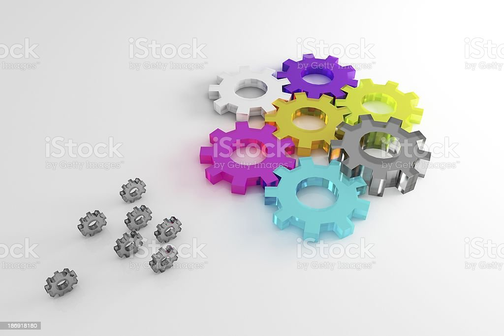 Gears colorful royalty-free stock photo