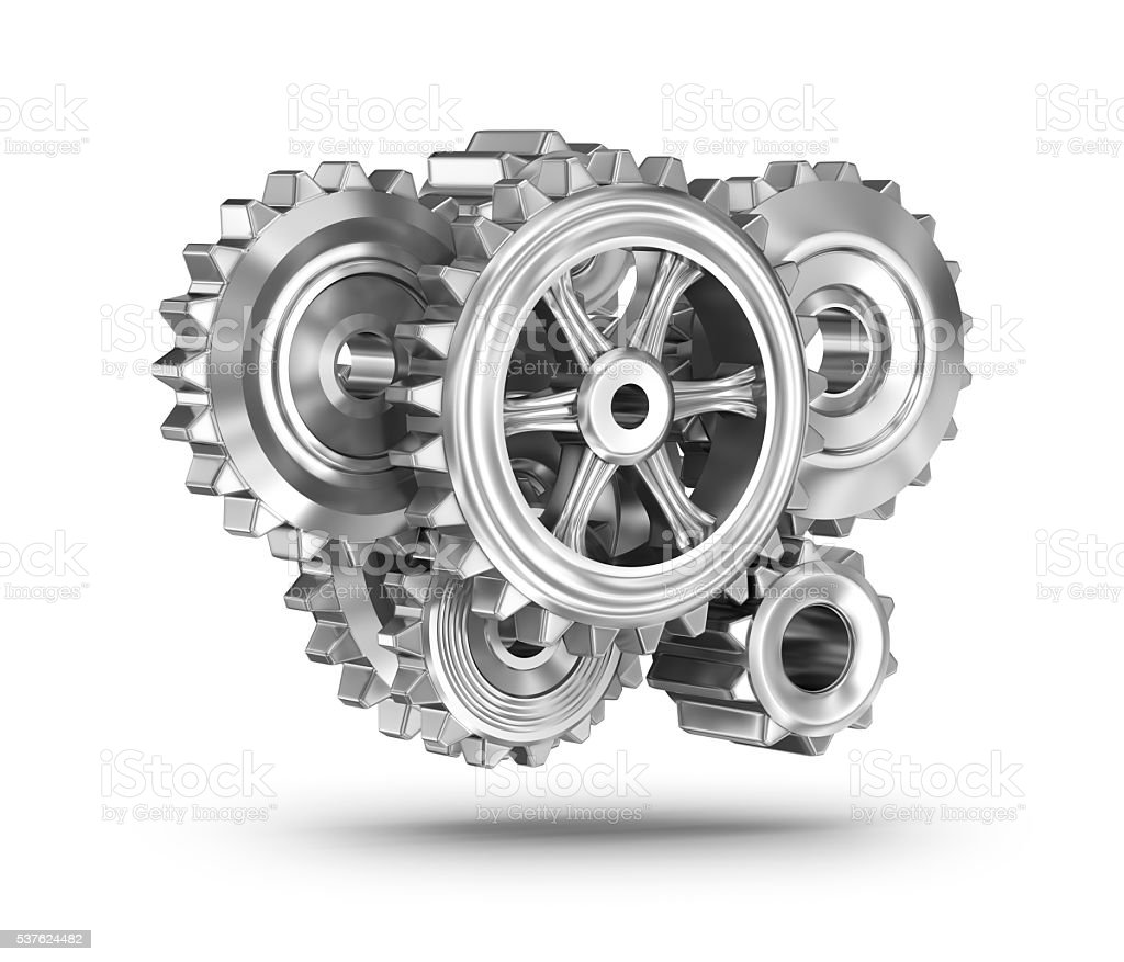 Gears concept over white surface stock photo