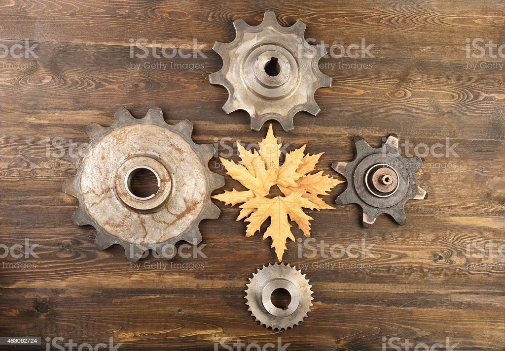 Gears contact with leaf on wooden backgroud stock photo