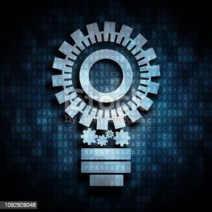 istock gears forming a lightbulb on a background of hexadecimal code 1092926048