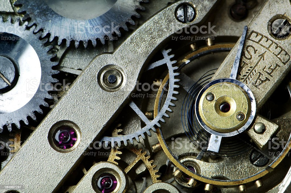 Gears in Antique Watch stock photo