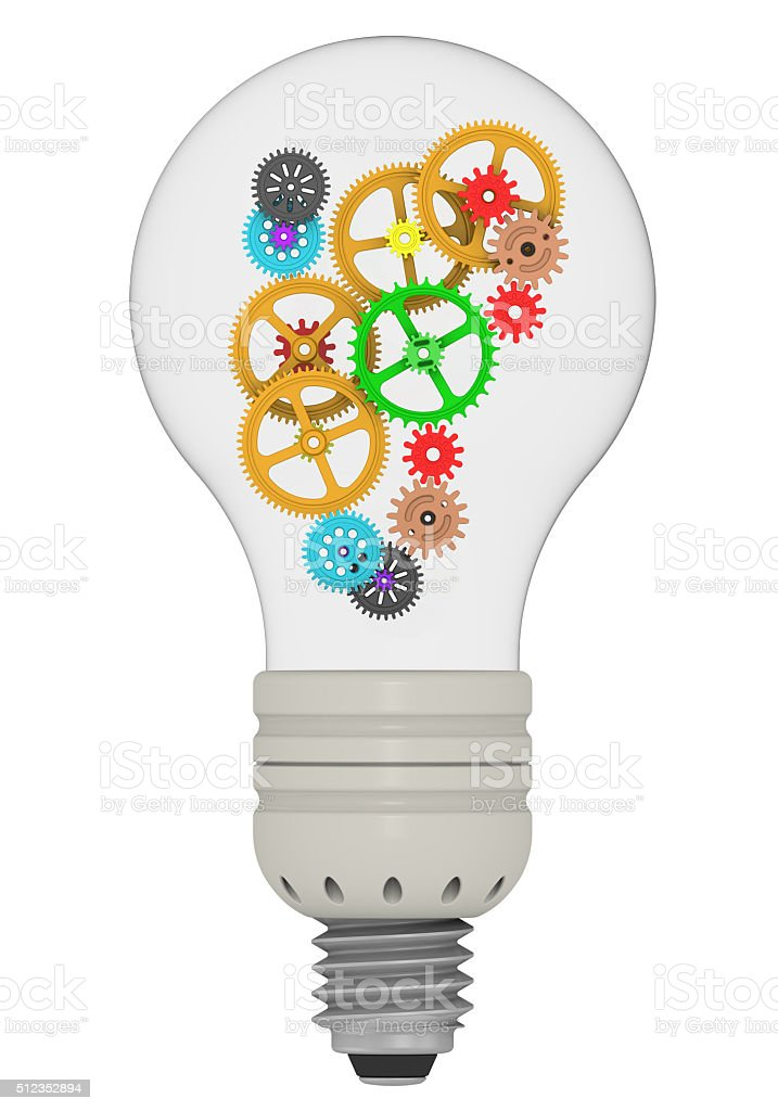 Gears in bulb. The concept of generating ideas stock photo