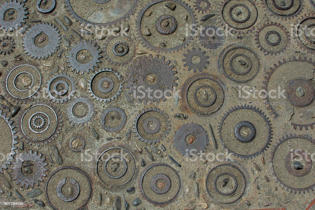 gears in cement background texture – Foto