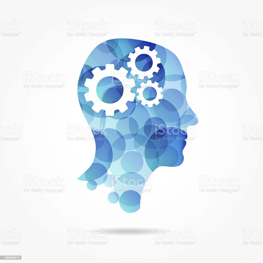Gears in head made of blue circles stock photo