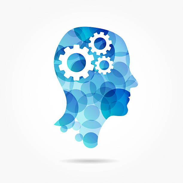 gears in head made of blue circles - clip art stock photos and pictures