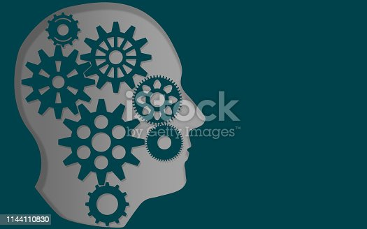 istock Gears in the head, human thinking concept 1144110830