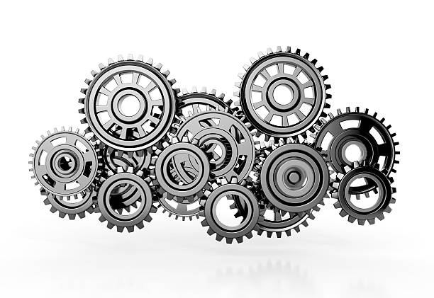 gears isolated on white background. - cog stock photos and pictures
