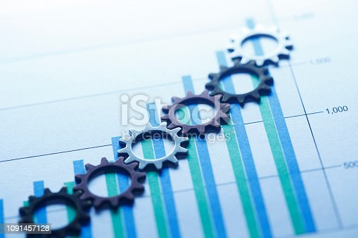 Small gears interlock as they rest on top of bar chart that shows increasing performance.