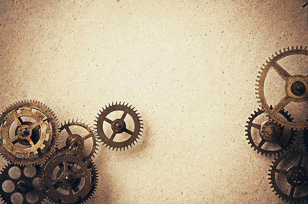 gears on background - steampunk stock photos and pictures
