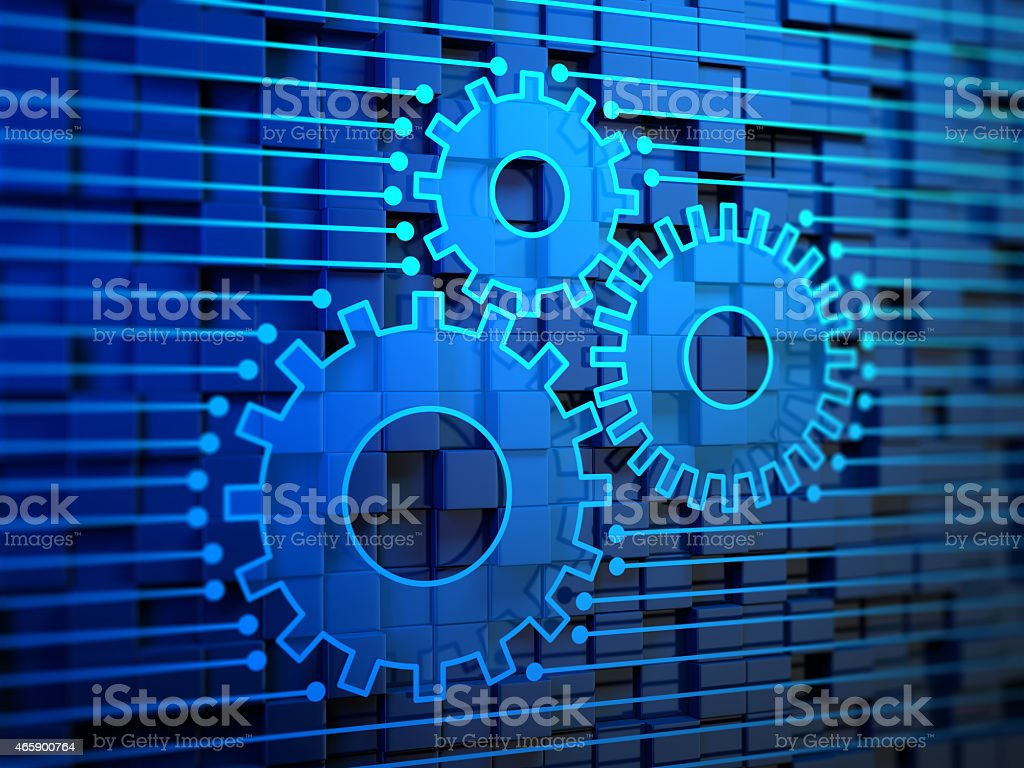 Gears on Blue Background stock photo