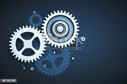 Gears on blueprint wallpaper top view with bolts & nuts. This image is a 3D render.
