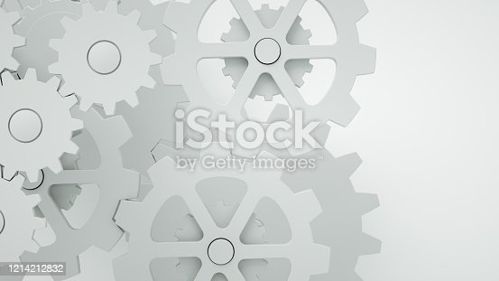 3d render Gears on white background, minimal teamwork concept, togetherness, progress, technology.