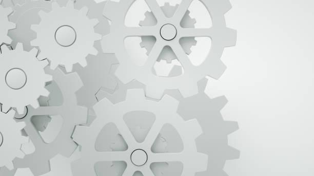 Gears on white background, minimal teamwork concept - foto stock