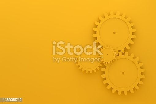 3d render Gears on yellow background, minimal teamwork concept, togetherness, progress, technology.