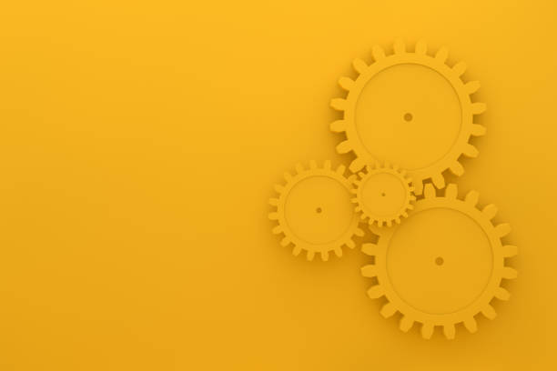Gears on yellow background, minimal teamwork concept 3d render Gears on yellow background, minimal teamwork concept, togetherness, progress, technology. gearshift stock pictures, royalty-free photos & images