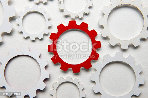 Paper gears on white.