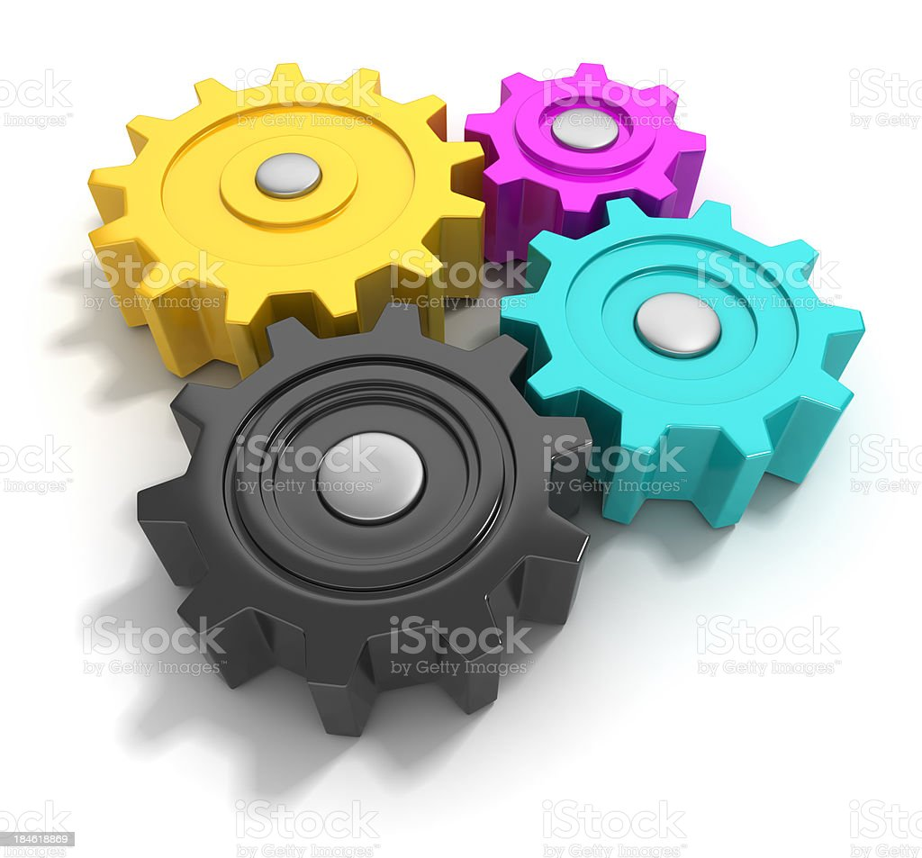 CMYK gears royalty-free stock photo