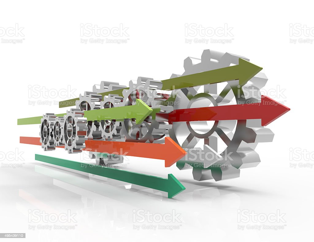 Gears, rising arrows 3d concept stock photo