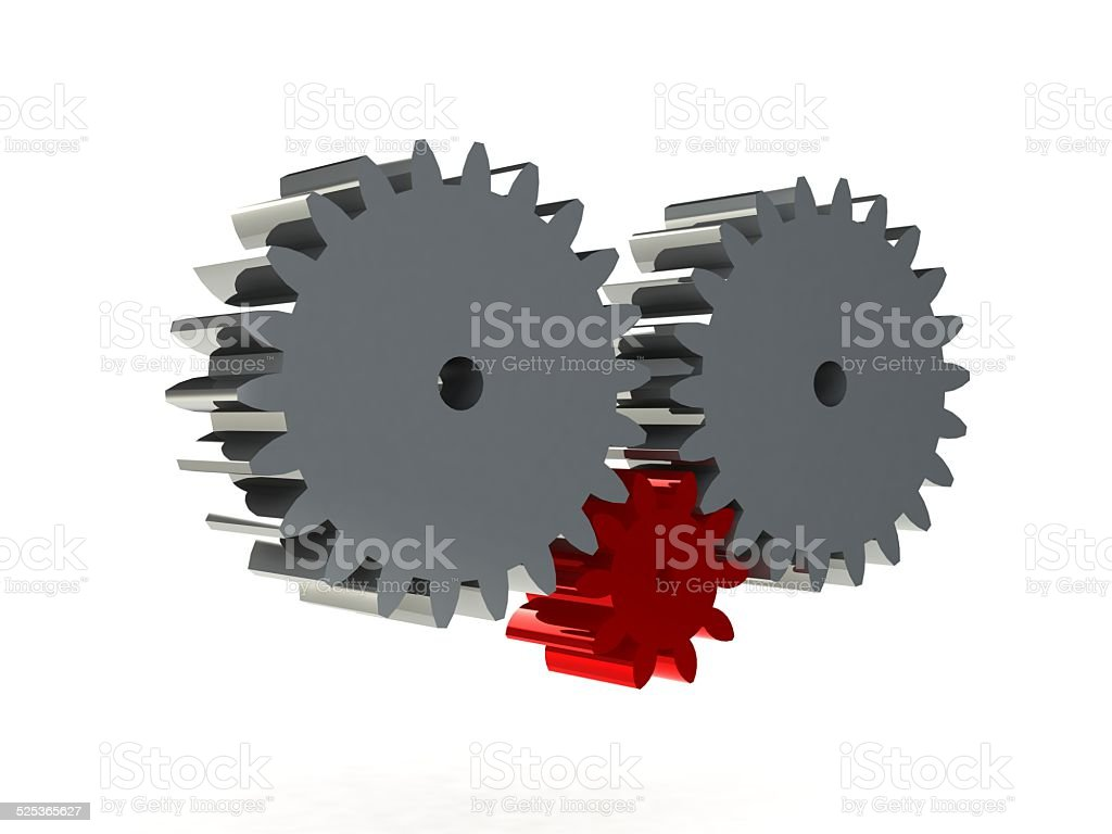 3D Gears the mechanism Isolated on white background stock photo