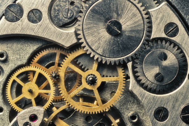 Gears wheels, close up view stock photo