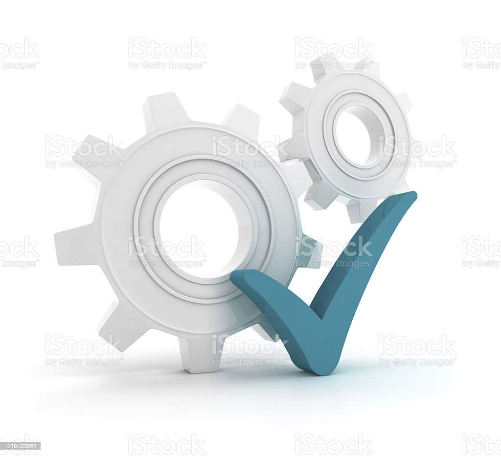 Gears with check mark stock photo