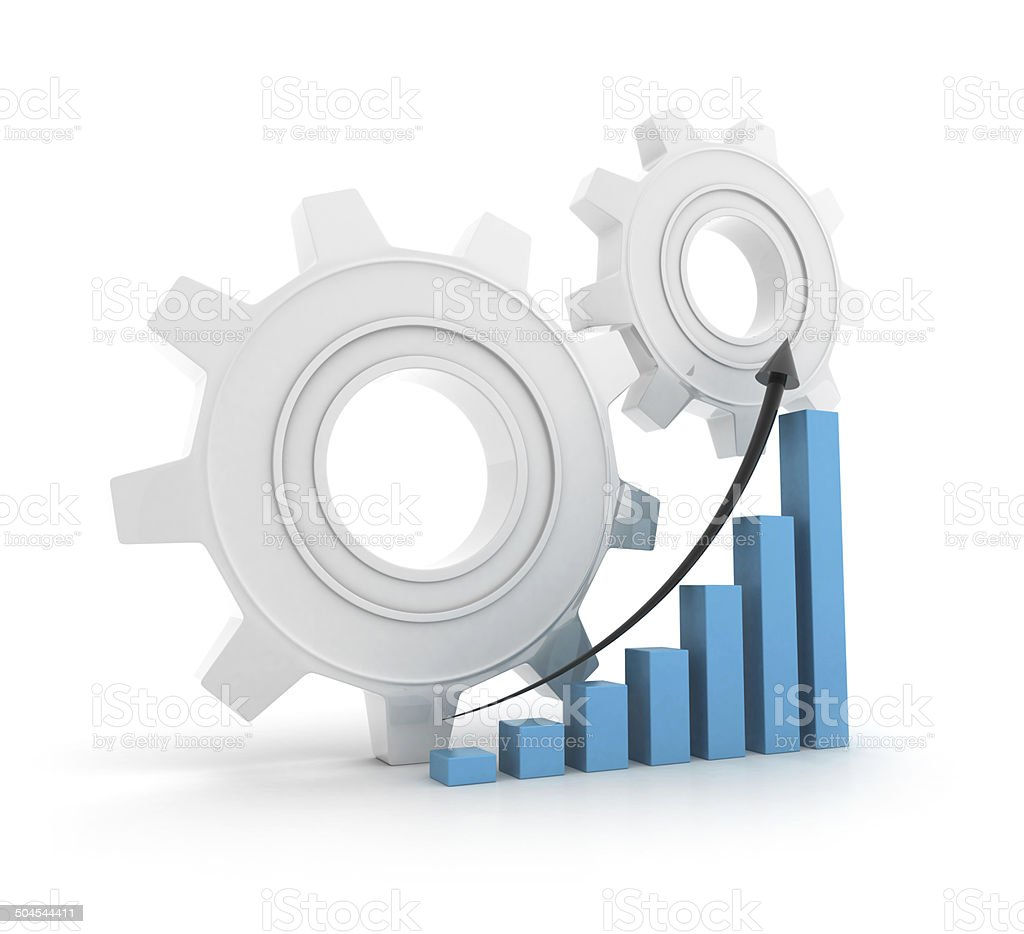 Gears with height chart stock photo