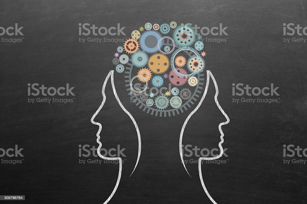 Gears with human head stock photo