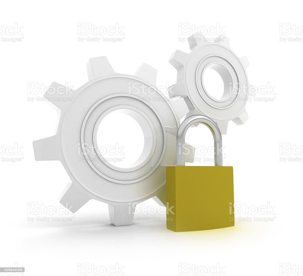 Gears with padlock stock photo