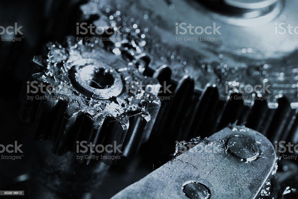Gears work in an industrial machine stock photo