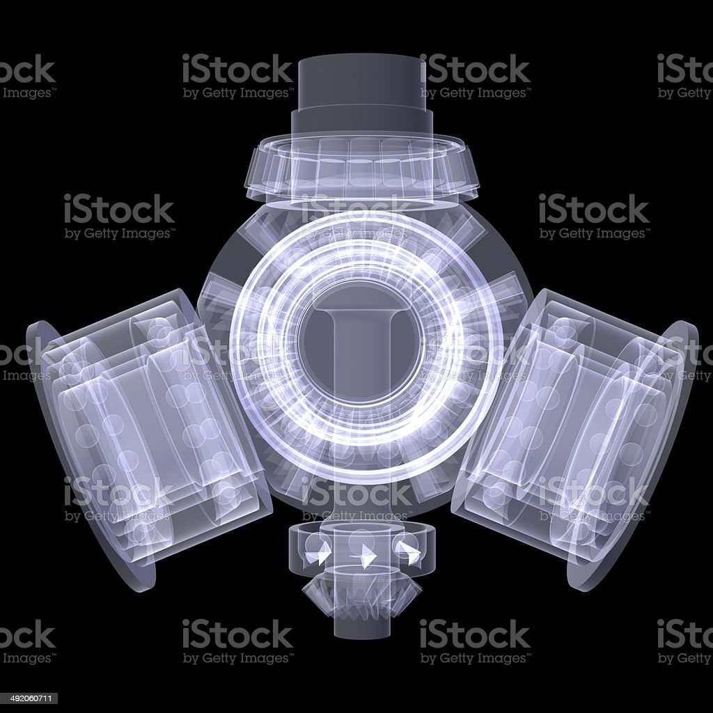 Gears. X-ray render royalty-free stock photo