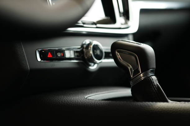 Gearshift inside car stock photo