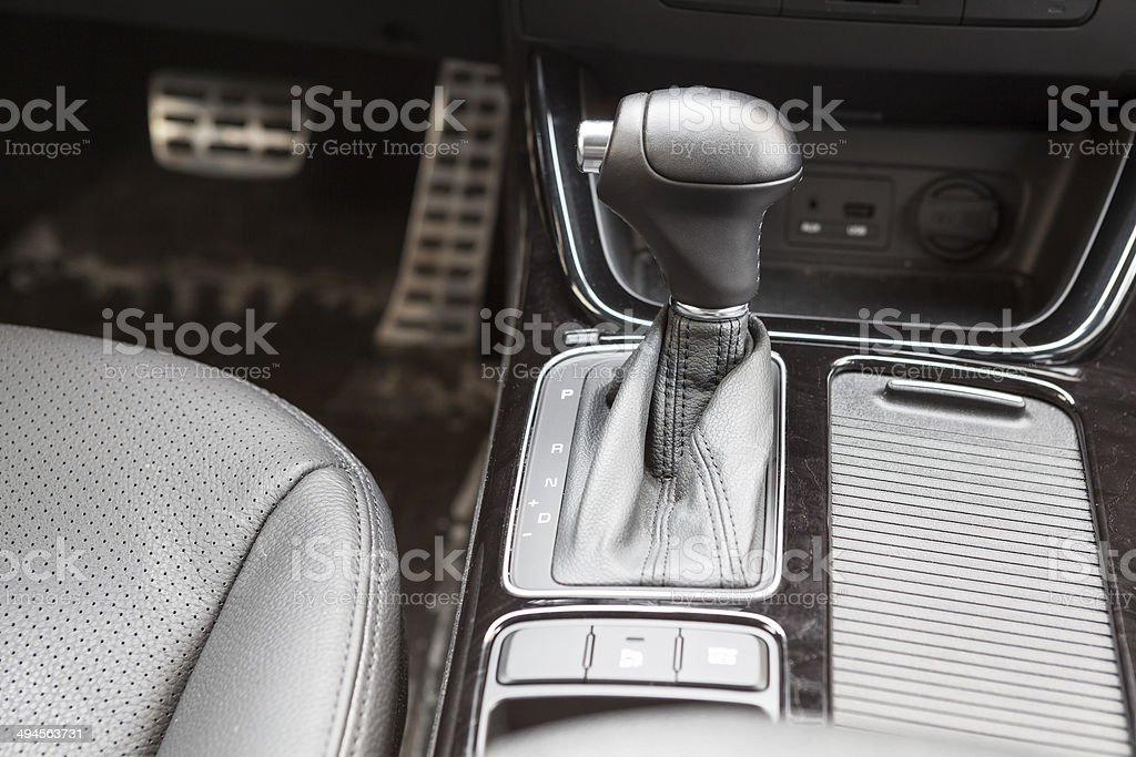 Gearshift lever of automatic gearbox. Car interior royalty-free stock photo