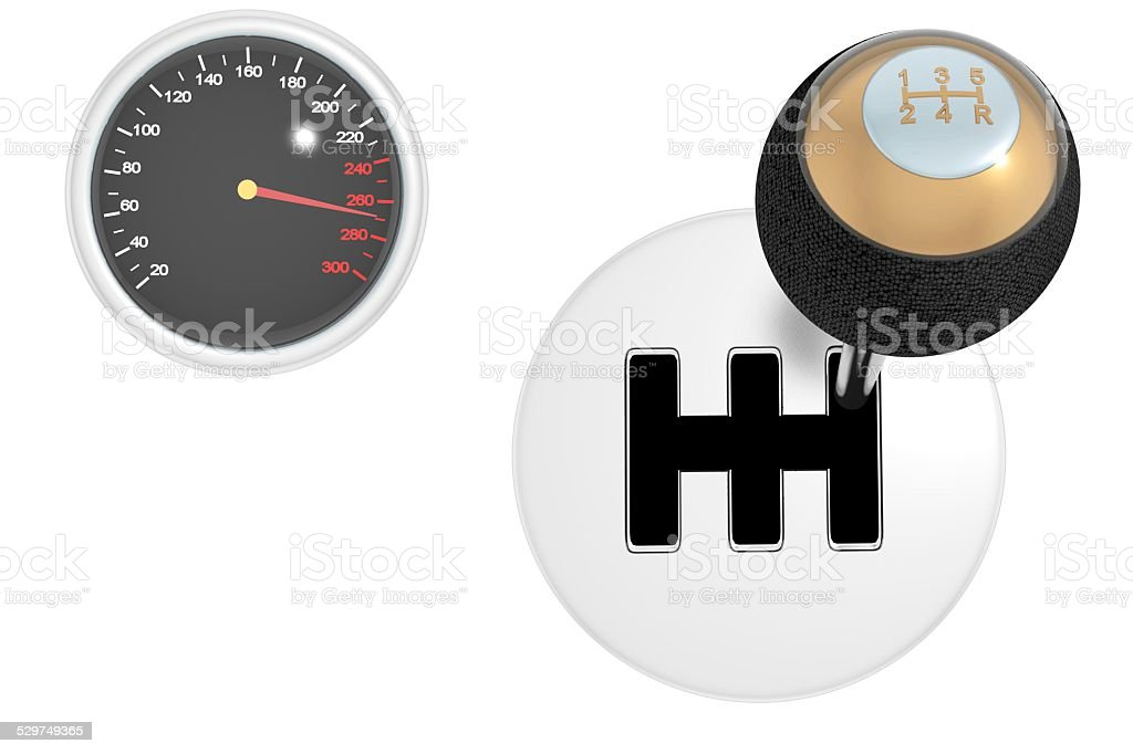 Gearshift & speedometer isolated on white 3d stock photo