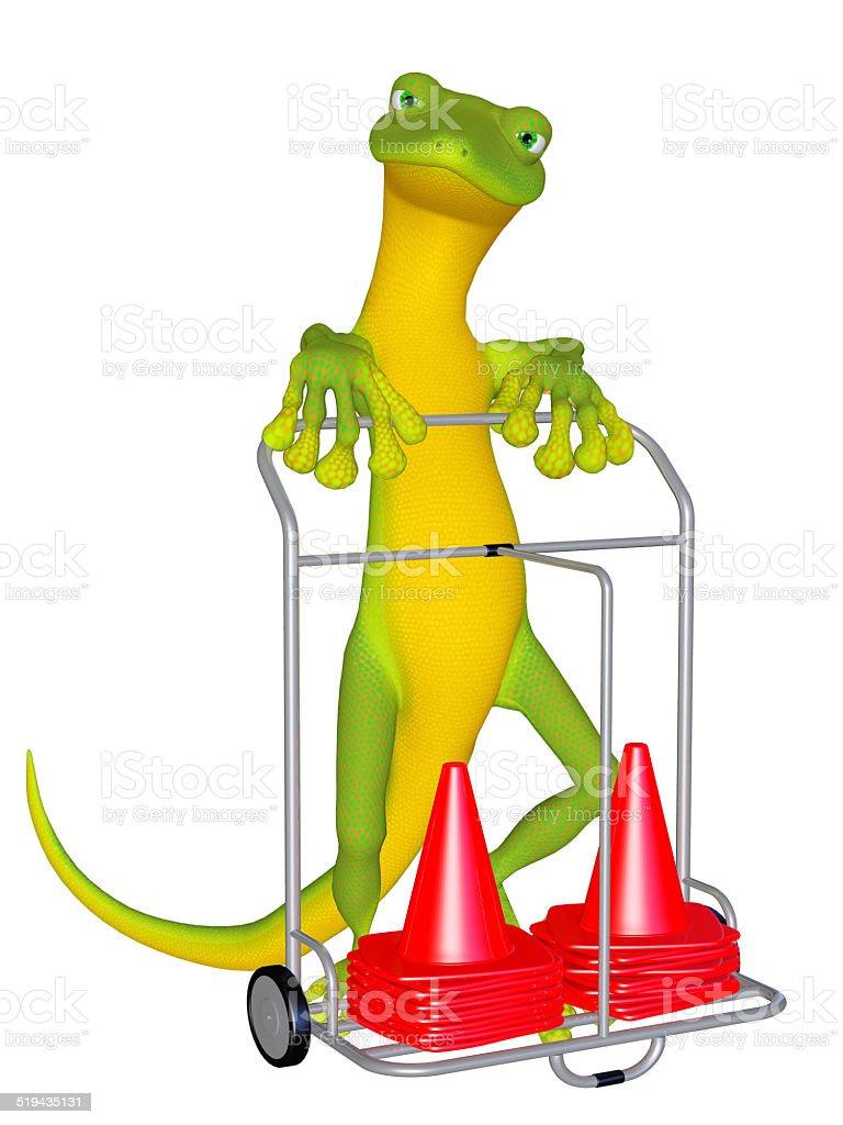 Gecko the sportsman stock photo