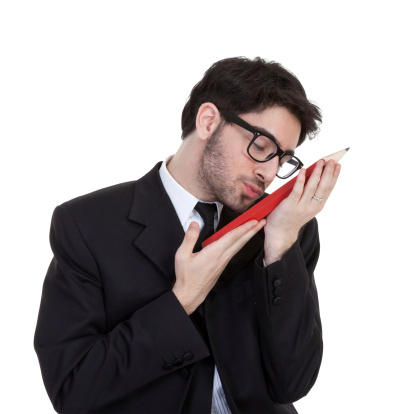 Geek Businessman Holding Big Pencil Stock Photo - Download Image Now