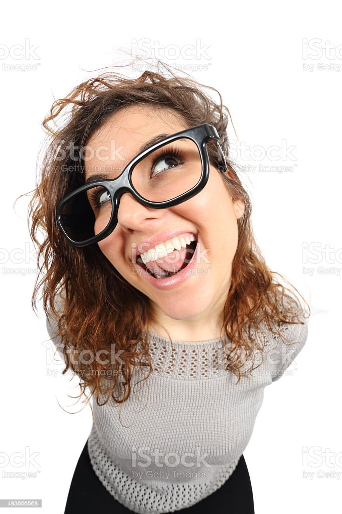 Geek funny girl singing and looking sideways stock photo