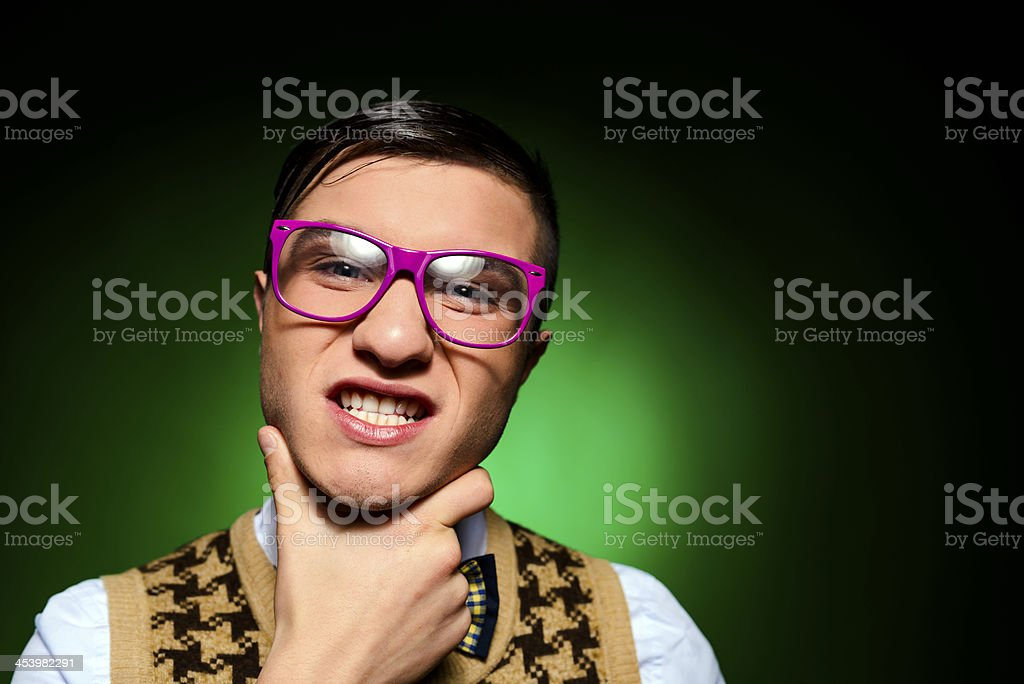 geek grimacing royalty-free stock photo