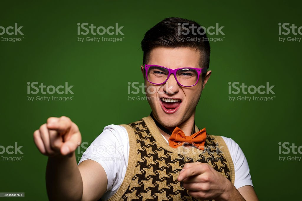 geek making a face royalty-free stock photo