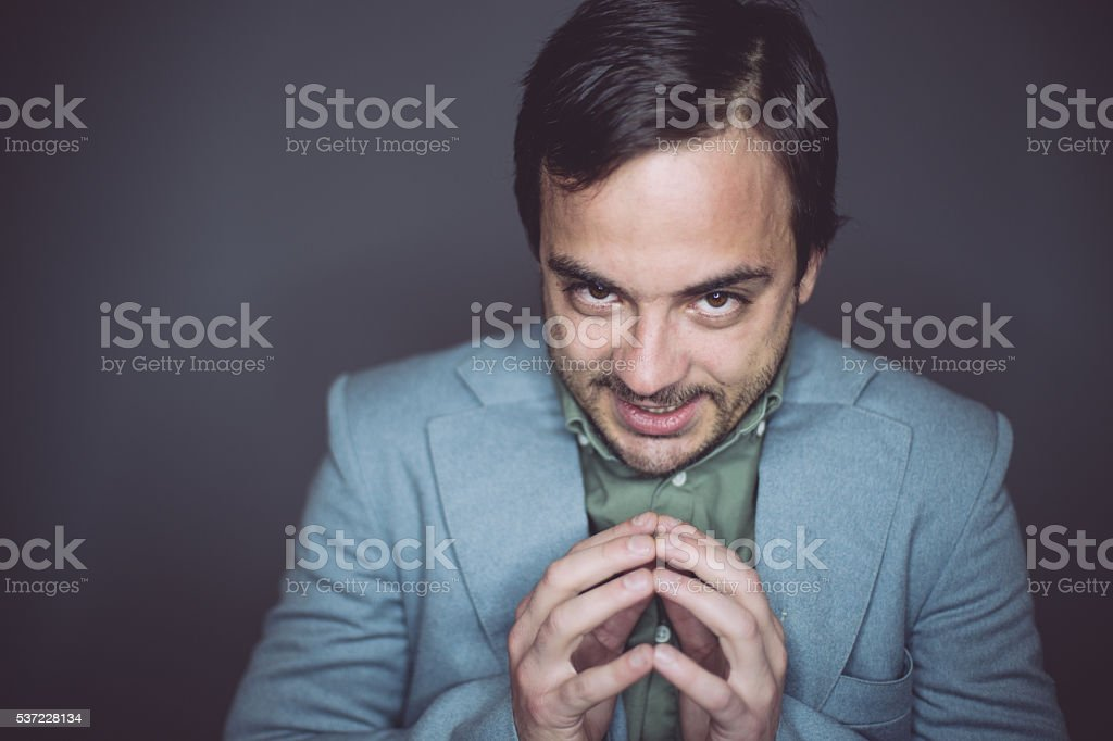 Geek man having a bad idea stock photo