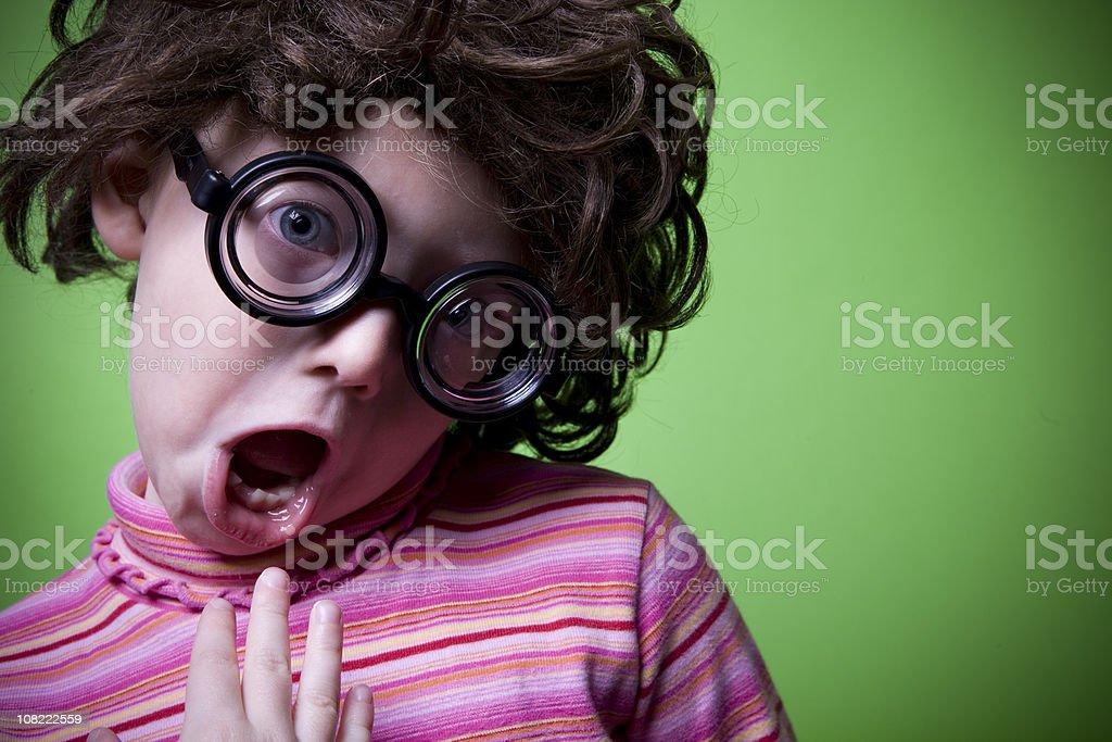 Geek on Green - Shocked royalty-free stock photo