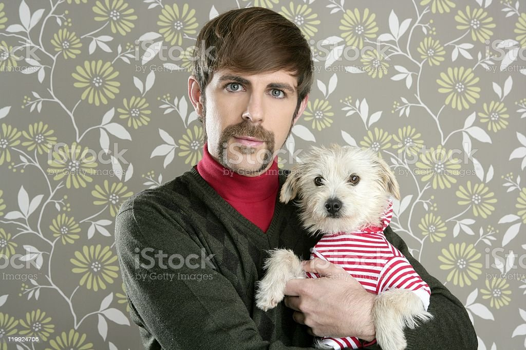 geek retro man holding dog silly on wallpaper royalty-free stock photo