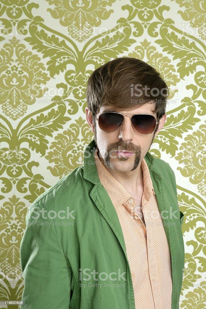 geek retro salesperson man funny mustache royalty-free stock photo