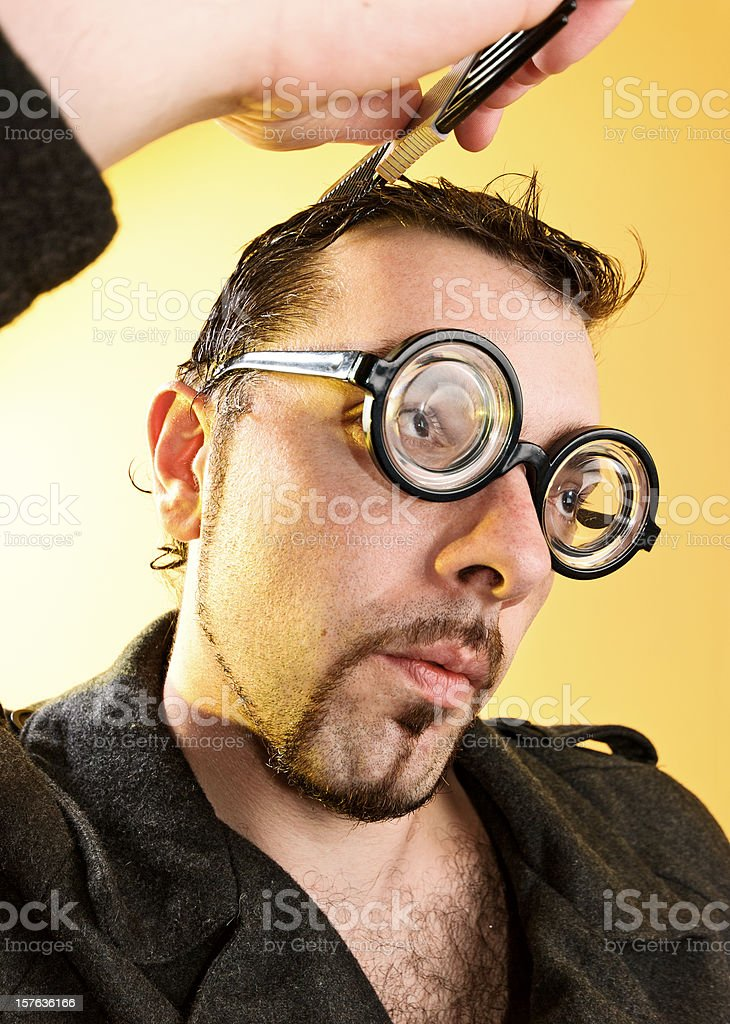 Geek with glasses. stock photo