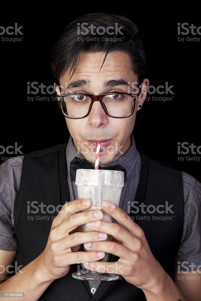 Geek With Milkshake stock photo