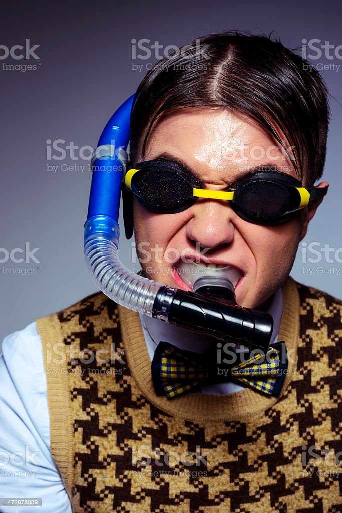 geek with swimming goggles royalty-free stock photo